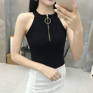 Zip Front Sleeveless Top