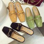 Square-toe Paneled Backless Loafers