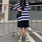 Elbow-sleeve Striped T-shirt / Wide Leg Shorts