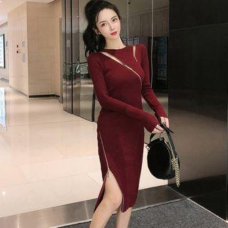 Long-sleeve Zip Midi Sheath Knit Dress