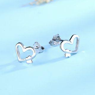 925 Sterling Silver Heart Earring 1 Pair - 925 Silver - White - One Size