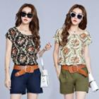 Set: Floral Print Short Sleeve Chiffon Top + Plain Shorts