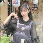 Crane Print Sleeveless A-line Dress / Elbow-sleeve Chiffon Top