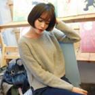 Raglan-sleeve Rib-knit Sweater