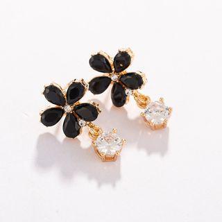 Flower Stud Earring 1 Pair - Black - One Size