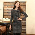 Ruffle-trim Patterned Dress