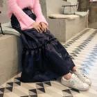 Ruffle-hem Satin Maxi Skirt