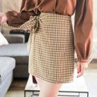 Beribboned Gingham Mini Skirt
