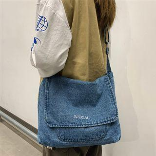 Lettering Denim Messenger Bag
