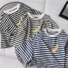 Short-sleeve Banana Print Striped T-shirt