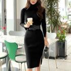 Turtleneck Knit Sheath Midi Dress