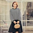 Puff-sleeve Striped Knit Top