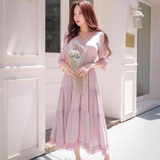Lace-trim Maxi Dress Pink - One Size