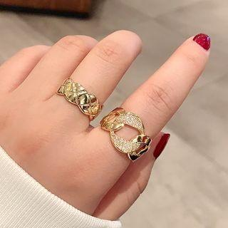 Rhinestone Linked Hoop Ring / Scallop Edge Ring / Set