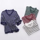 V-neck Stripe Elbow-sleeve Knit Top