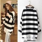 Lace Trim Striped Long T-shirt