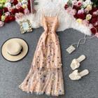 Sequined Slim-cut Sleeveless Dress