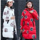 Printed Hooded Long Padded Coat