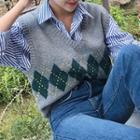 Chevron Patterned Knit Vest
