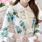 Embellished Floral Print Lace Blouse