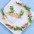 Bridal Flower Headpiece Set Green - One Size