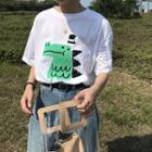 Crocodile-printed Crew-neck Short-sleeve T-shirt