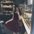 Sleeveless Plain A-line Velvet Dress