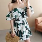 Off-shoulder Floral-pattern Playsuit