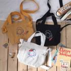 Canvas Brooch Crossbody Bag