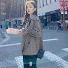 Double-breasted Plaid Trench Jacket