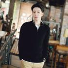 Long-sleeve Stand-collar Knit Top