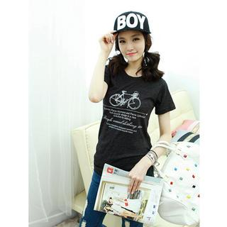 Bicycle-print T-shirt