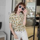 Pineapple Print Short-sleeve Blouse