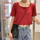 Plain Short-sleeve Knit Cardigan