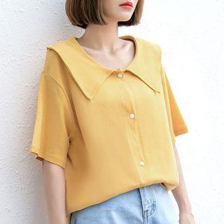 Elbow-sleeve Buttoned Wide Collar Top