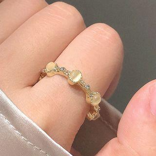 Cat Eye Stone Alloy Ring 1 Pc - Gold - One Size