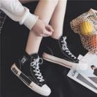 Applique High-top Canvas Sneakers