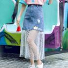 Star-mesh Panel Print Denim Skirt