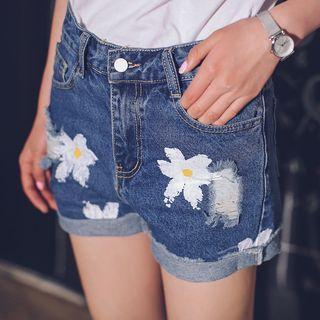 Floral Print Denim Shorts