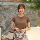 Round-neck Perforated-yoke Knit Top