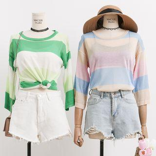 Colorblock Striped Sheer Knit Top