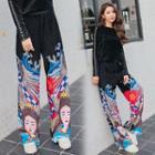 Printed Pleuche Wide Leg Pants