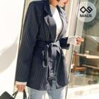 Double-breasted Belted Pinstripe Jacket