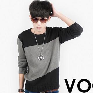 Crew-neck Color-block Sweater