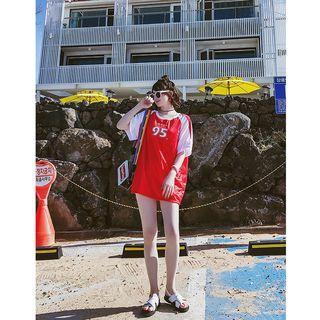 Set: Bikini + Angels Print Short-sleeve Top