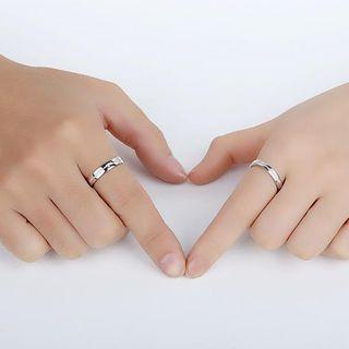 925 Sterling Silver Embossed Heartbeat Ring