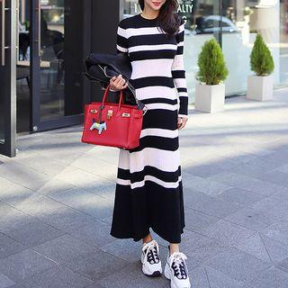 Knit Long-sleeve Stripe Maxi A-line Dress