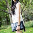 Patterned Faux Leather Clutch