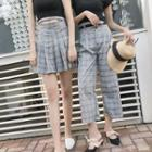 Plaid Pleated Skirt / Cropped Pants