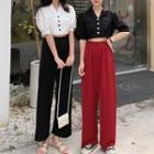 Buttoned Elbow-sleeve Blouse / High-waist Wide-leg Pants